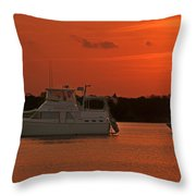 Cabin Cruiser And Red Sunset Over Harbour Throw Pillow