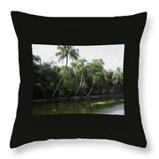 Coconut Trees And Other Plants Lined Up Throw Pillow