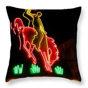 Cody Wyoming Neon Lounge Sign At Night Throw Pillow