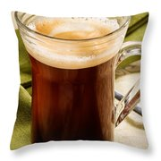 Coffe In Tall Glass On Green Throw Pillow