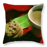 Coffee And Cookies At The Cafe Throw Pillow