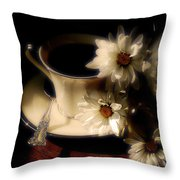 Coffee And Daisies  Throw Pillow