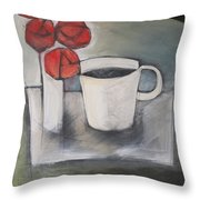 Coffee And Roses Throw Pillow