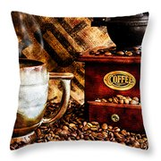 Coffee Beans And Grinder Closeup Throw Pillow
