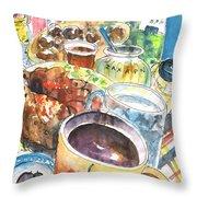 Coffee Break In Grakari In Crete Throw Pillow