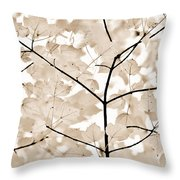 Coffee Brown Leaves Melody Throw Pillow