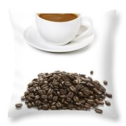 Coffee Cups And Coffee Beans Throw Pillow