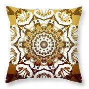 Coffee Flowers 10 Calypso Ornate Medallion Throw Pillow