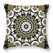 Coffee Flowers 10 Olive Ornate Medallion Throw Pillow