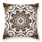 Coffee Flowers 10 Ornate Medallion Throw Pillow by Angelina Vick