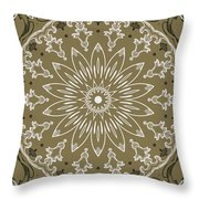 Coffee Flowers 11 Olive Ornate Medallion Throw Pillow
