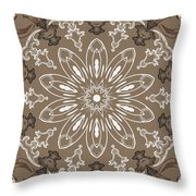 Coffee Flowers 11 Ornate Medallion Throw Pillow