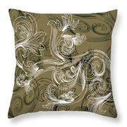 Coffee Flowers 2 Olive Throw Pillow