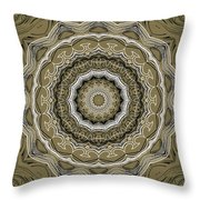 Coffee Flowers 2 Ornate Medallion Olive Throw Pillow