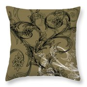 Coffee Flowers 3 Olive Throw Pillow