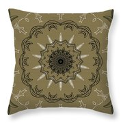 Coffee Flowers 3 Olive Ornate Medallion Throw Pillow