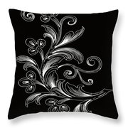 Coffee Flowers 4 Bw Throw Pillow