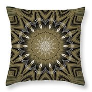 Coffee Flowers 4 Olive Ornate Medallion Throw Pillow