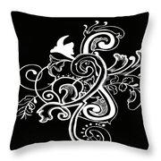 Coffee Flowers 5 Bw Throw Pillow