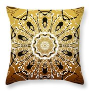 Coffee Flowers 5 Calypso Ornate Medallion Throw Pillow