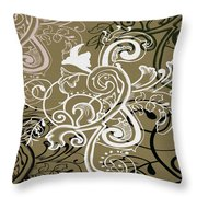 Coffee Flowers 5 Olive Throw Pillow