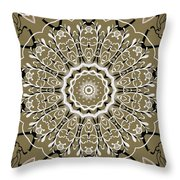 Coffee Flowers 5 Olive Ornate Medallion Throw Pillow