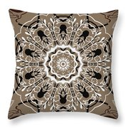 Coffee Flowers 5 Ornate Medallion Throw Pillow