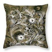 Coffee Flowers 6 Olive Throw Pillow
