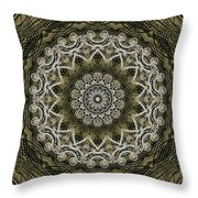 Coffee Flowers 6 Olive Ornate Medallion Throw Pillow