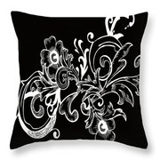Coffee Flowers 7 Bw Throw Pillow