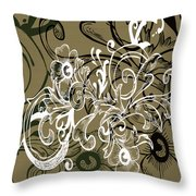 Coffee Flowers 7 Olive Throw Pillow