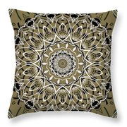 Coffee Flowers 7 Olive Ornate Medallion Throw Pillow