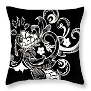 Coffee Flowers 8 Bw Throw Pillow