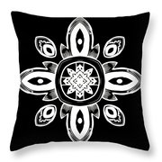 Coffee Flowers 8 Bw Ornate Medallion Throw Pillow