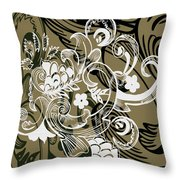 Coffee Flowers 8 Olive Throw Pillow