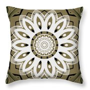 Coffee Flowers 8 Olive Ornate Medallion Throw Pillow