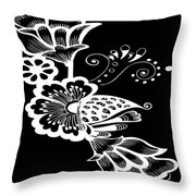 Coffee Flowers 9 Bw Throw Pillow