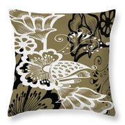 Coffee Flowers 9 Olive Throw Pillow