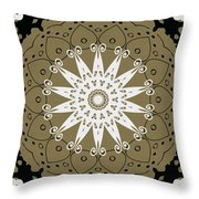 Coffee Flowers 9 Olive Ornate Medallion Throw Pillow