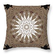 Coffee Flowers 9 Ornate Medallion Throw Pillow