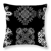 Coffee Flowers Ornate Medallions Bw 6 Peice Collage Throw Pillow