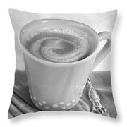 Coffee In Tall Yellow Cup Black And White Throw Pillow
