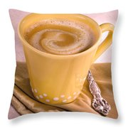 Coffee In Yellow Cup Throw Pillow