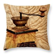 Coffee Mill And Beans In Grunge Style Throw Pillow