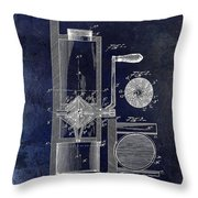 Coffee Mill Patent 1893 Blue Throw Pillow