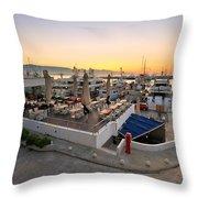 Coffee Shop In Zea Marina Throw Pillow