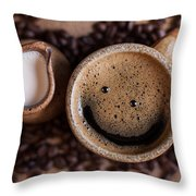 Coffee With A Smile Throw Pillow