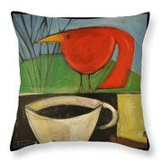 coffee with red bird II Throw Pillow