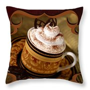 Coffee With Whipped Topping And Chocolates Throw Pillow