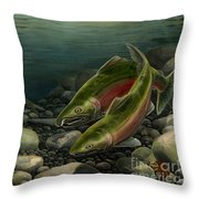Coho Fishing Throw Pillow